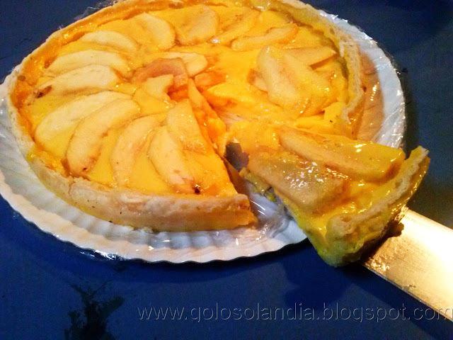 Tarta de manzana y flan, rápida y fácil.