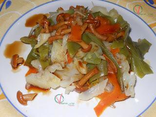 Verduras al vapor salteadas con setas