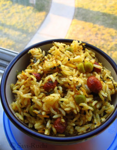 Menthe soppu bath | Spiced fenugreek leaves rice : A Karnataka Specialty!