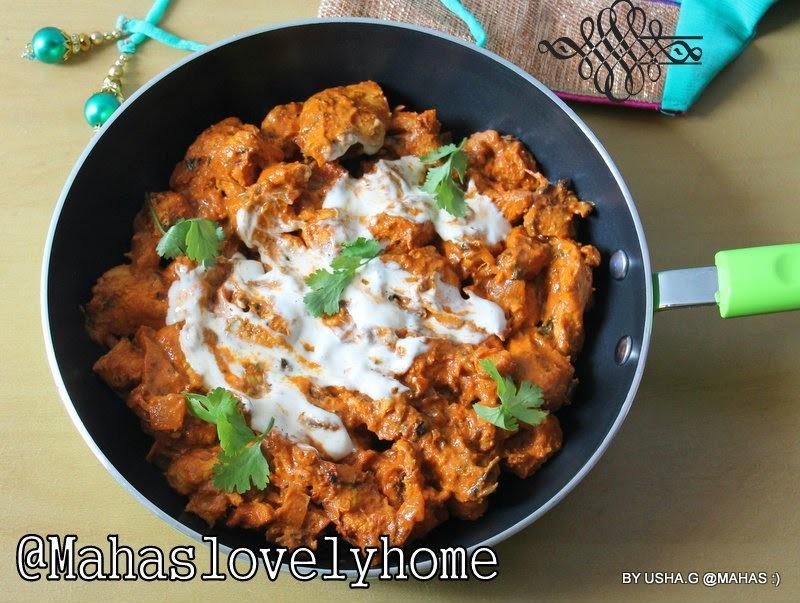 Chicken tikka masala/Creamy chicken tikka masala/Chicken in creamy tomato sauce with spices/Chicken tikka masala with grill chicken pieces/step by step pictures