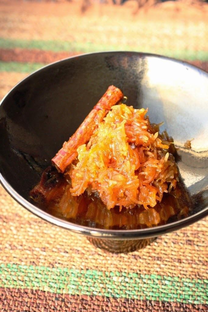 Riz confit à l'orange sanguine (Kalamar Jarda)