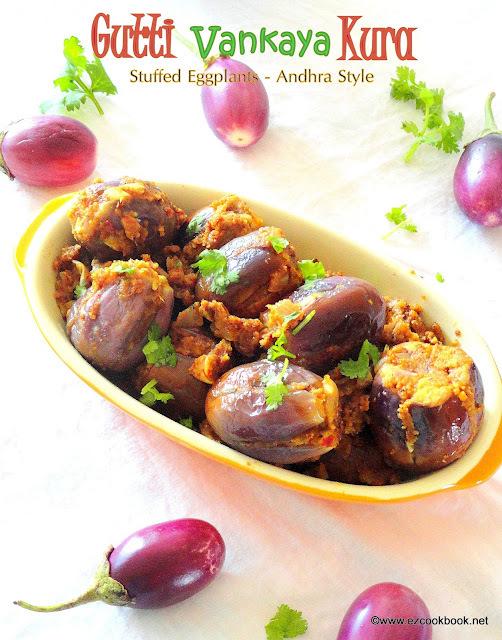 Gutti Vankaya Kura ~ Andhra Style Stuffed Brinjals