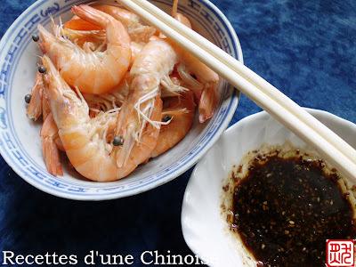 Crevettes cuisson rapide de Canton 白灼虾 báizhuó xiā