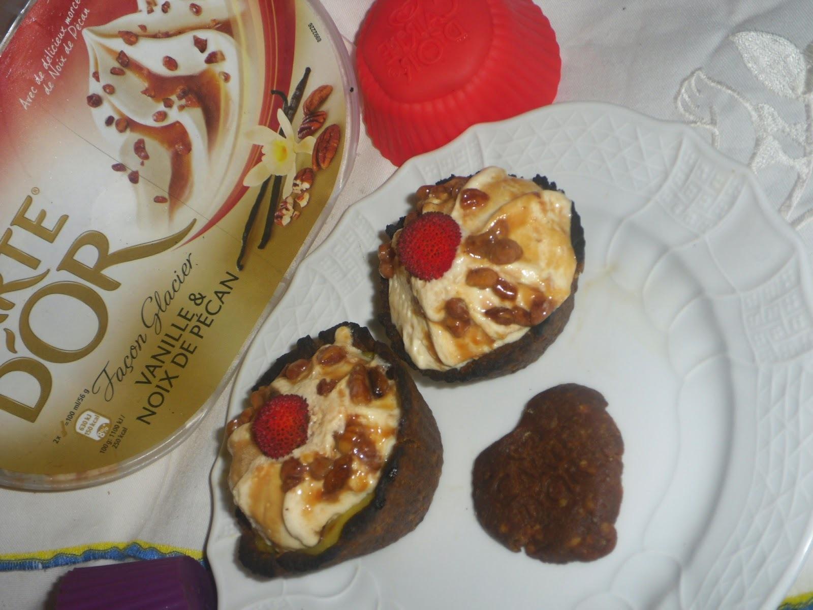 Creme de nata com gelado de Baunilha e nozes pecan Carte D`or