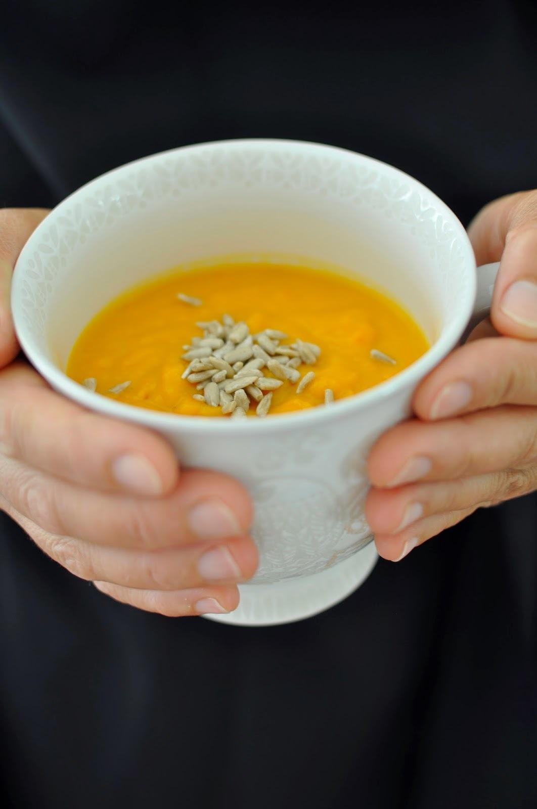 Crema de zapallo, zanahoria y coco