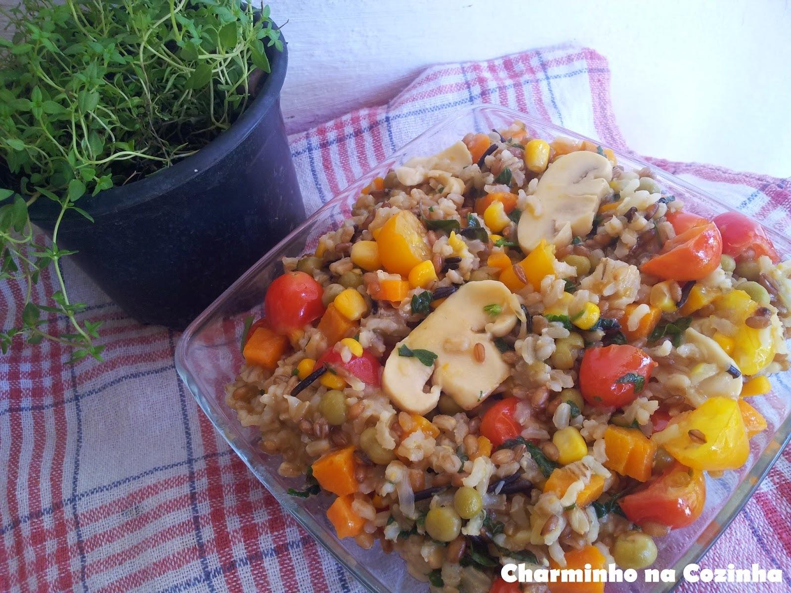 Salada  primavera com arroz 7 cereais