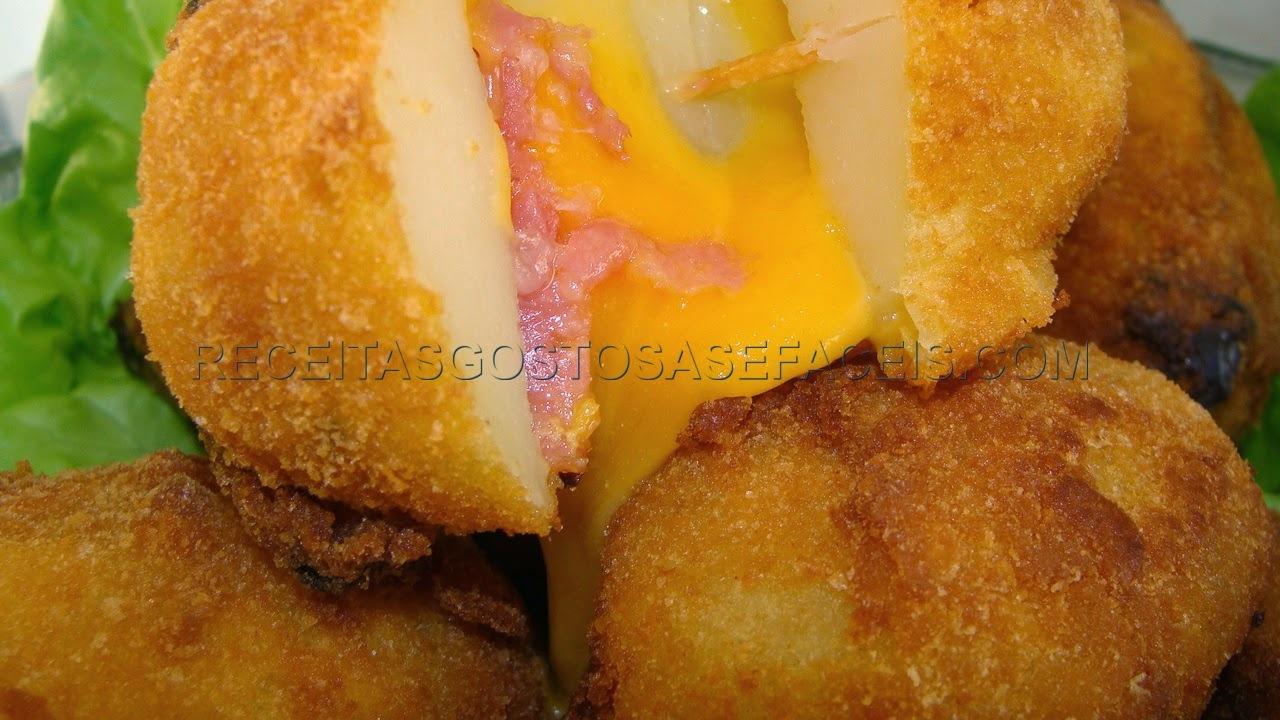 Batata recheada com salame e queijo prato