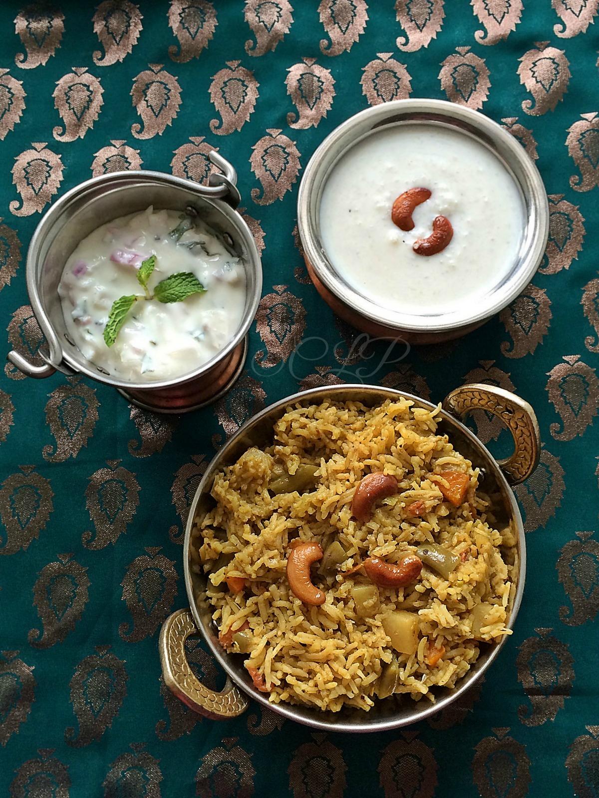 Vegetable Brinji Sadam | Varagu Thengai Pal Payasam | South Indian Lunch Menu