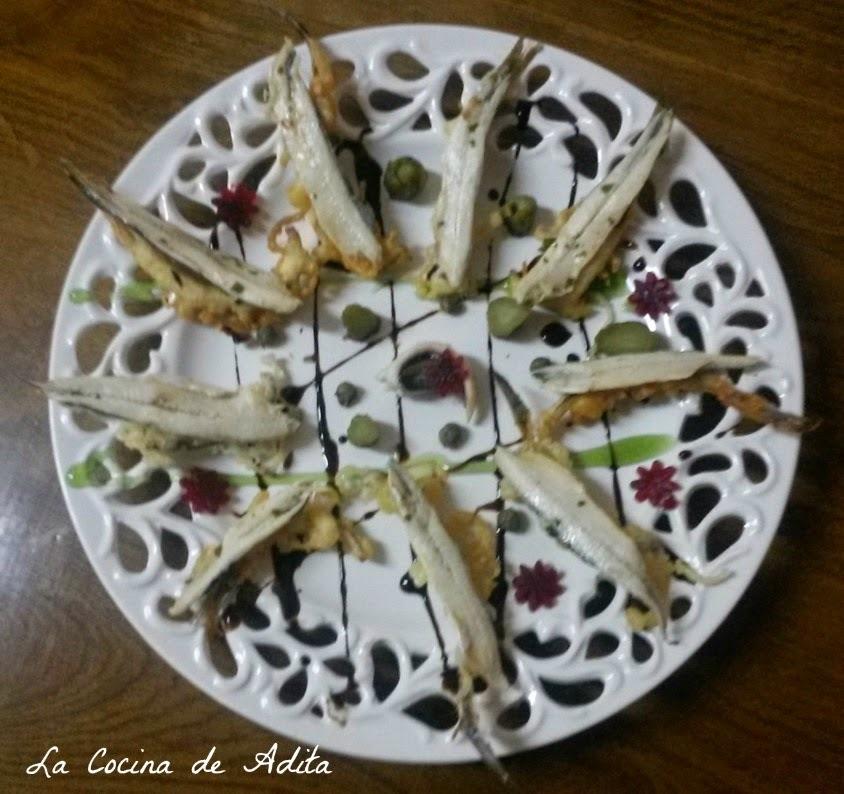 Snacks, boquerones en vinagre, con espina en tempura