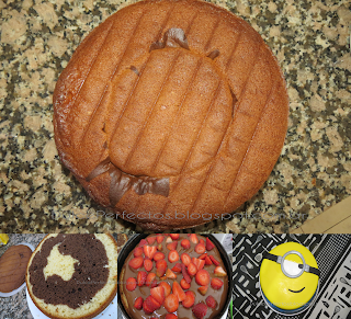 Receta fácil de Torta Marmolada / Bizcochuelo marmolado (Torta MINION)