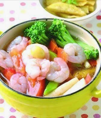 Pot shrimp mixed vegetables
