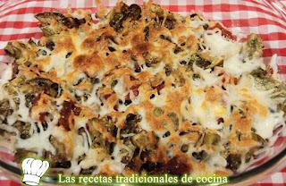 Receta de alcachofas gratinadas con chorizo