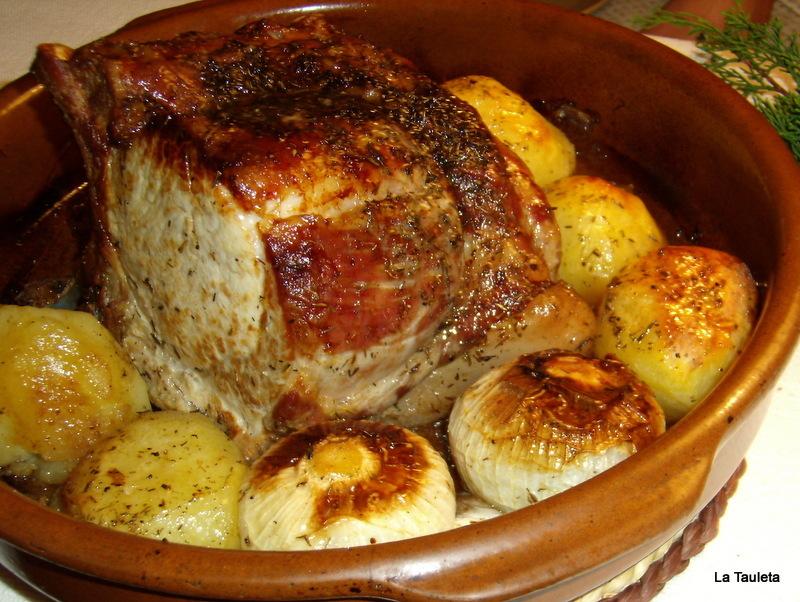 carre de cerdo con hueso al horno
