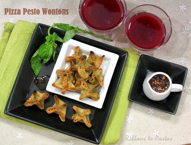 Pizza Pesto Wontons