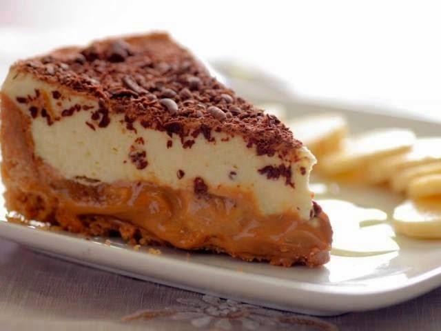Torta de Creme com Bananas e Chocolate