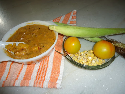 Sweet corn, Baby corn & Raw Tomato Curry