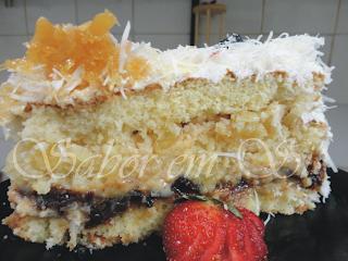 recheio de bolo sabor ameixa com coco e leite condensado