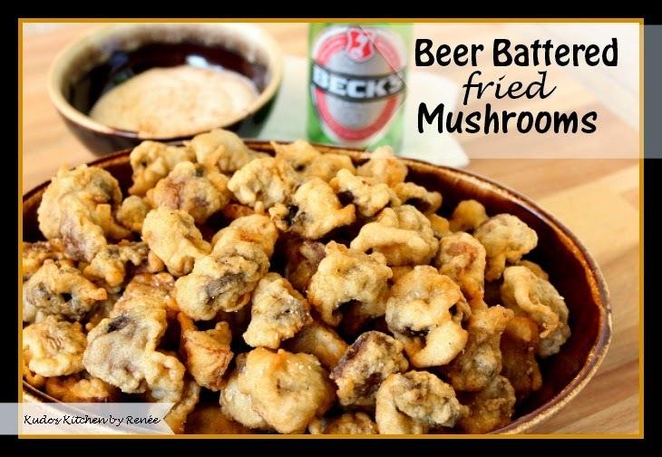 """Beer Battered Fried Mushrooms for #SundaySupper """"Man Food"""""""