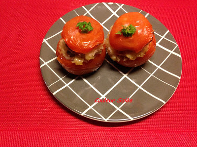 tomates farcies au panga, noix de pétoncle et chorizo