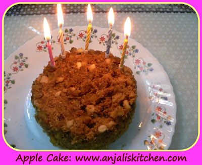 EGG-LESS  APPLE  CAKE  IN MICROWAVE
