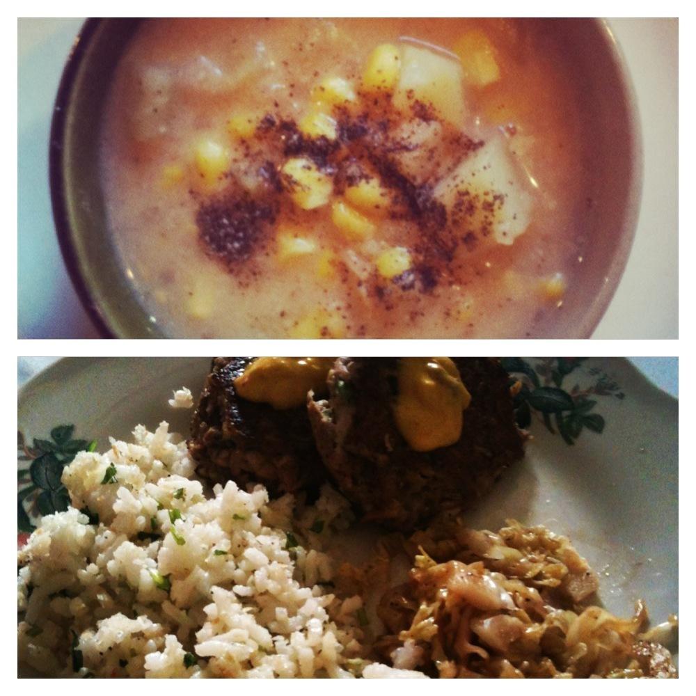 Clase #5: Chowder de choclo, croquetas de jurel con alioli de curry, arroz sucio y repollo salteado, y compota de manzana
