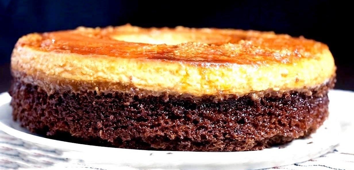 Κέικ σοκολάτας με κρεμ καραμελέ