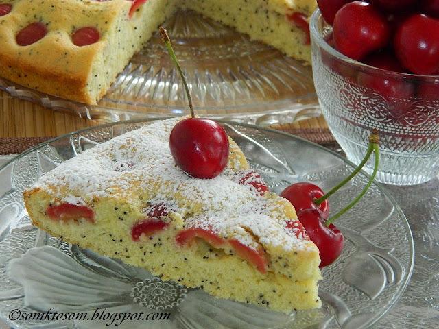 ceresnový koláč s makom