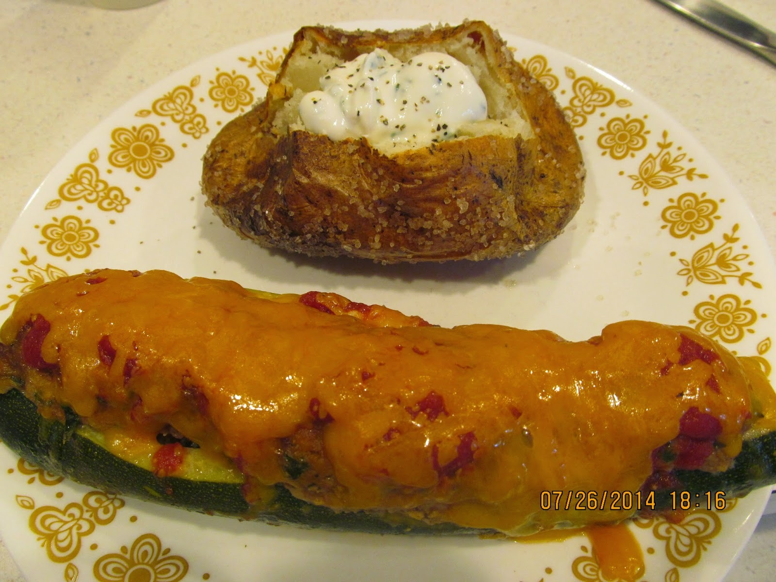 Recipe: Stuffed Zucchini & Restaurant Baked Potatoes*