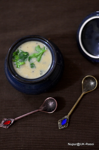 Roasted Cauliflower Cheese Soup with Coriander