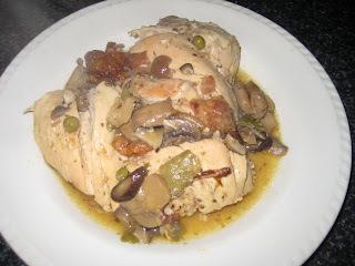 pollo con verduras en salsa blanca