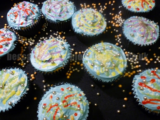 fireworks cup cakes