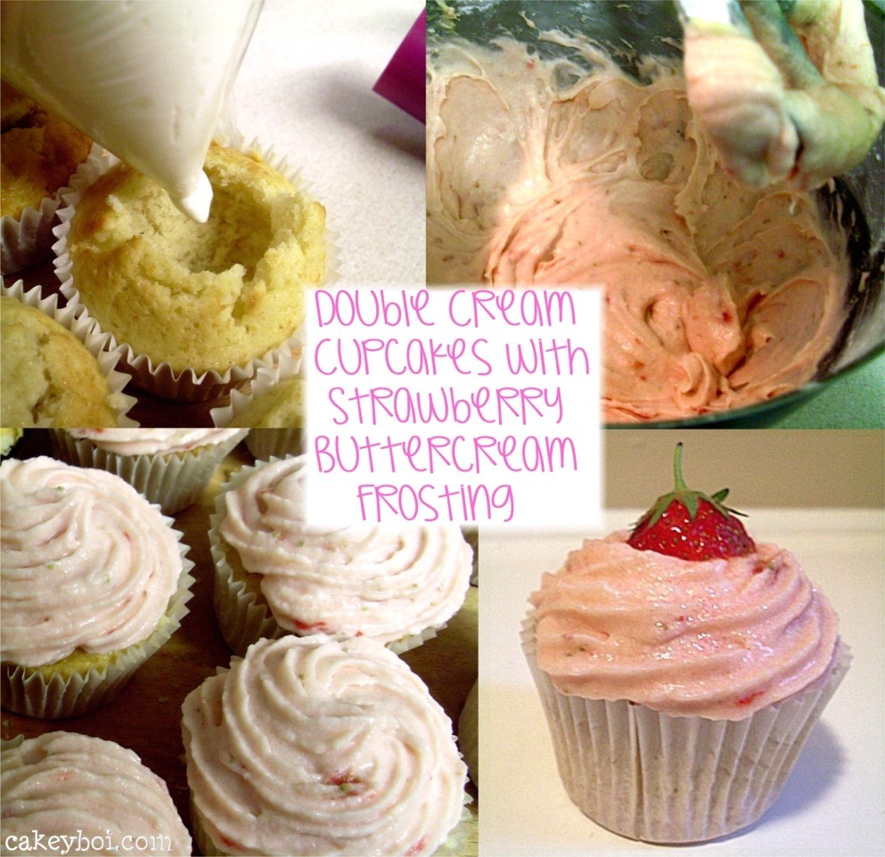 Double Cream Cupcakes with Strawberry Buttercream Frosting