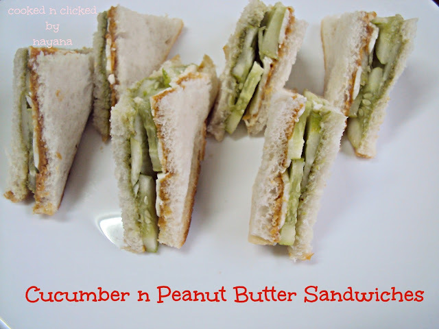 Cucumber Peanut Butter Sandwiches