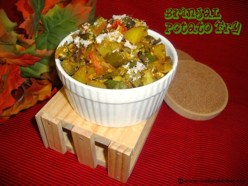 Brinjal Potato Fry / Vankaya Bangaladumpa Vepudu / Aloo Baingan Ki Sabzi / Eggplant Potato Curry Recipe