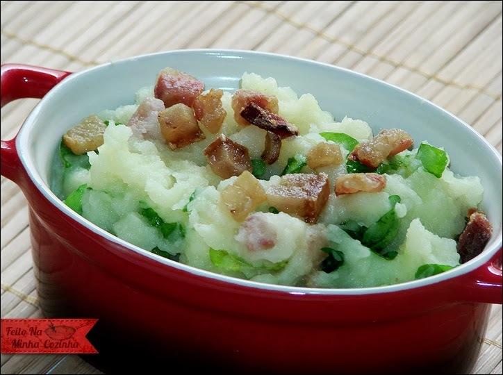 Purê de Batatas com Agrião e Bacon