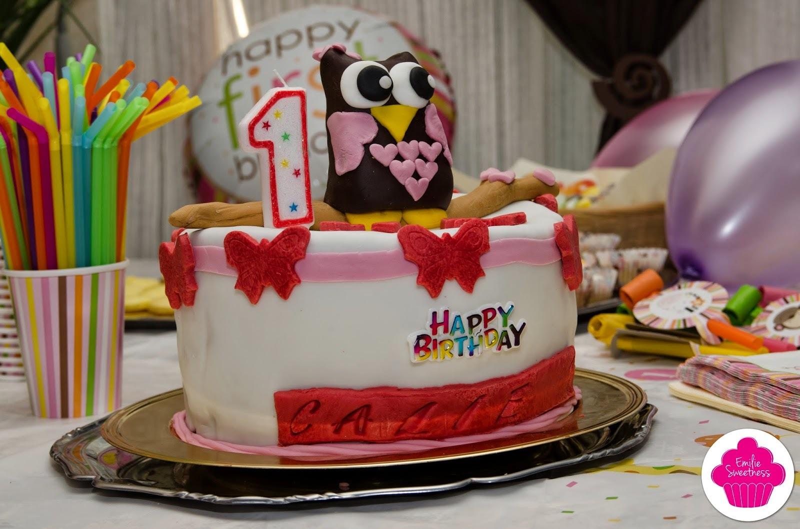 Gâteau d'anniversaire Hibou, damier chocolat vanille