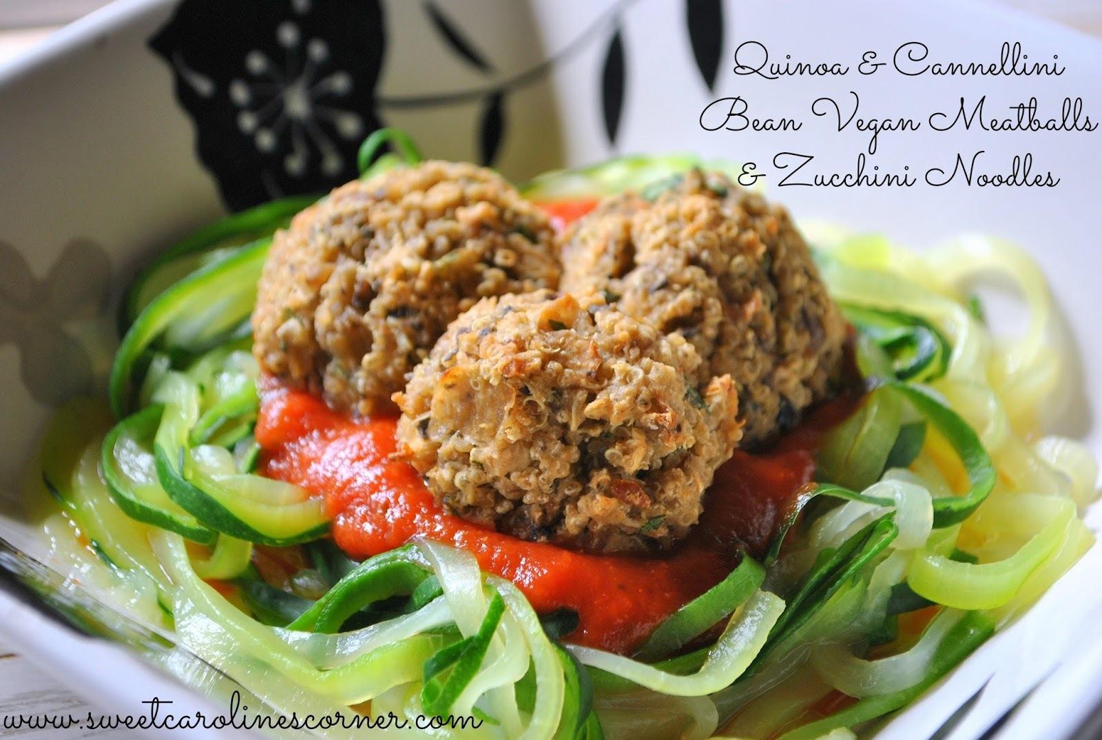 Quinoa & Cannellini Bean Vegan Meatballs & Zucchini Noodles (Almôndegas Vegana de Quinoa & Feijão com Macarrão de Abobrinha)