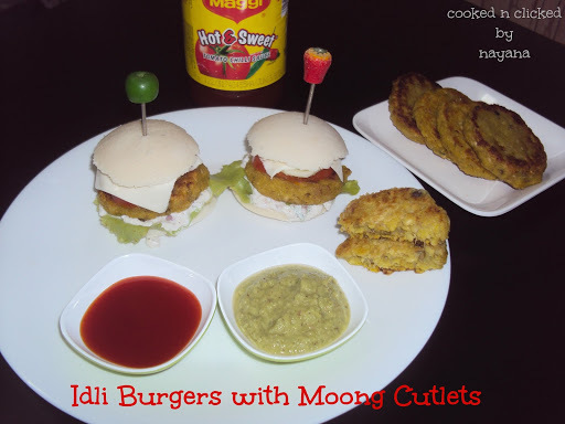 Idli Burgers With Moong Cutlets
