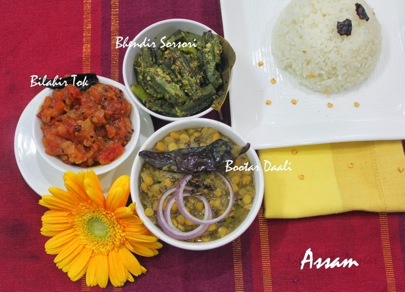 A meal from Assam with Bootar Daal, Bhendir Sorsori and Bilahir Tok