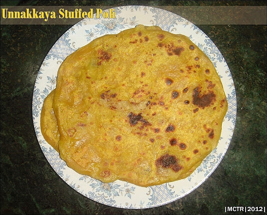 Unnakkaya stuffed Poli | Flat bread stuffed with sweetened mashed bananas & coconut mixture