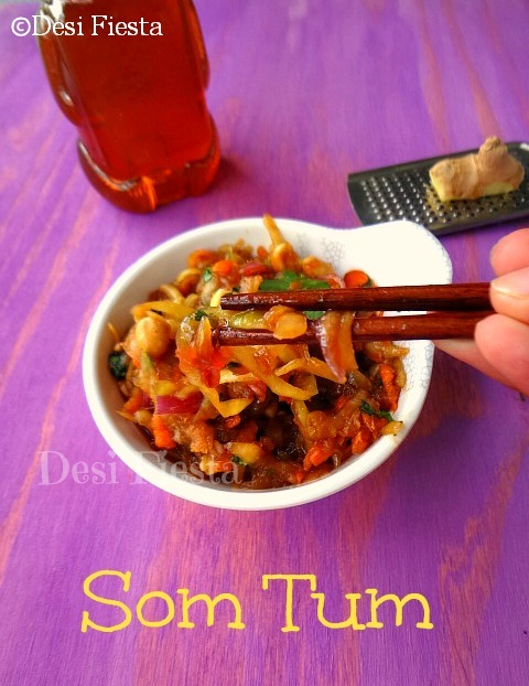 Som Tam/ Som Tum ( Thai Green papaya Salad) - Veg version