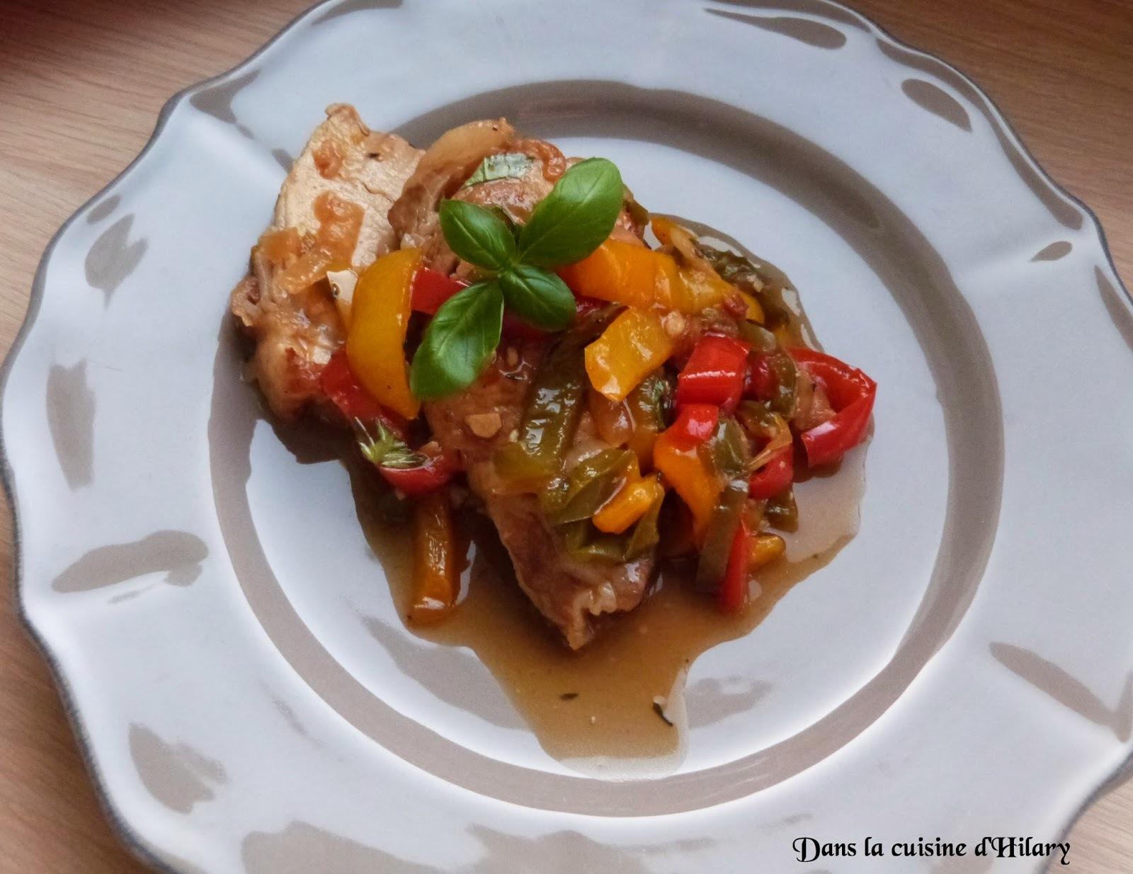Rôti de porc aux trois poivrons / Pork roast and its three peppers