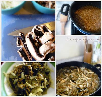 Receta de risotto de trigo y hongos