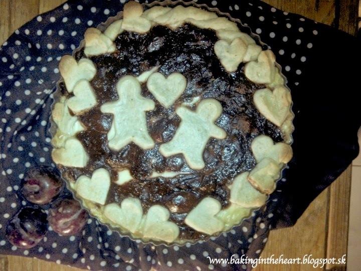 Ringlotovo-čokoládový koláč z krehkého cesta s pudingovým krémom
