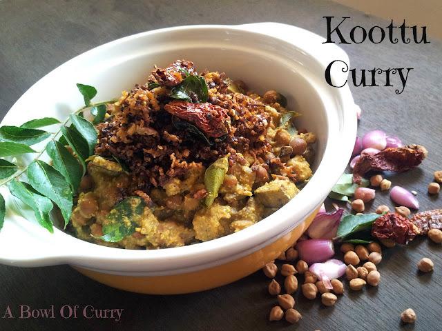 Koottu Curry (Black Chickpea in coconut gravy)