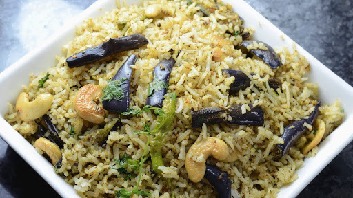 SPICY PULAO WITH BRINJALS