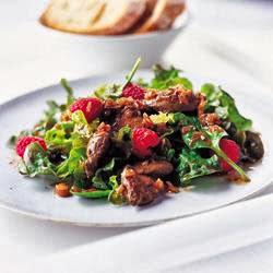 Salada de Fígado de Galinha e Framboesas