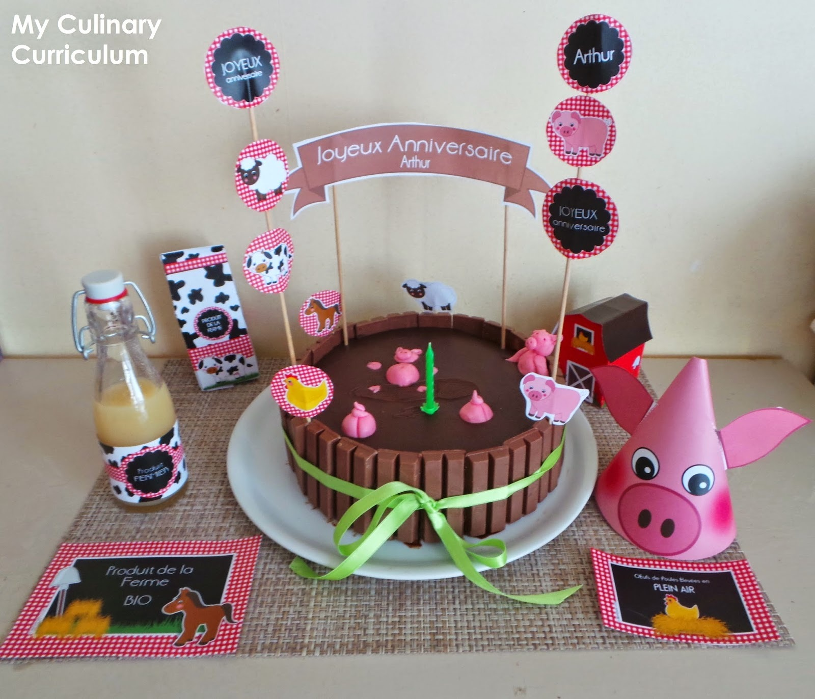 Gâteau mare aux cochons (petits cochons dans la boue) Nutella et chocolat (Cake pond pigs (little pigs in the mud) Nutella and chocolate)