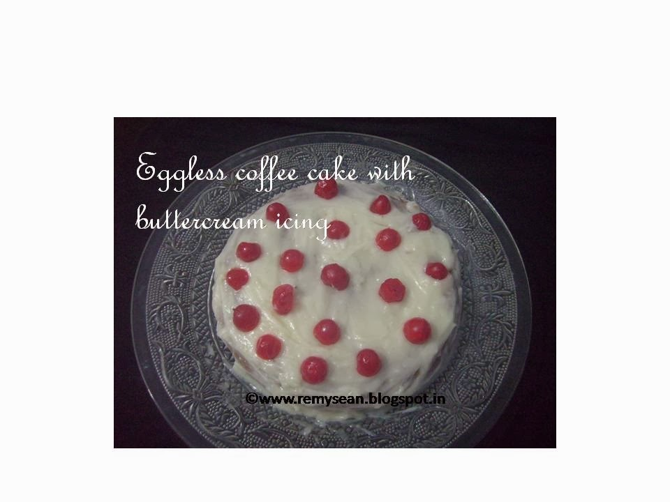 Eggless Coffee Cake With Butter Cream Icing