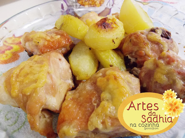 frango assada no forno com maionese e batata passo a passo